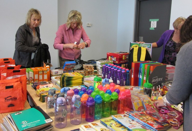 Division Office staff assemble welcome packages for northern Alberta students