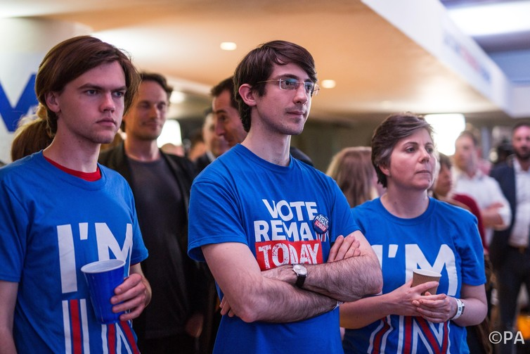 The news sinks in for Remain campaigners. Rob Stothard / PA Wire