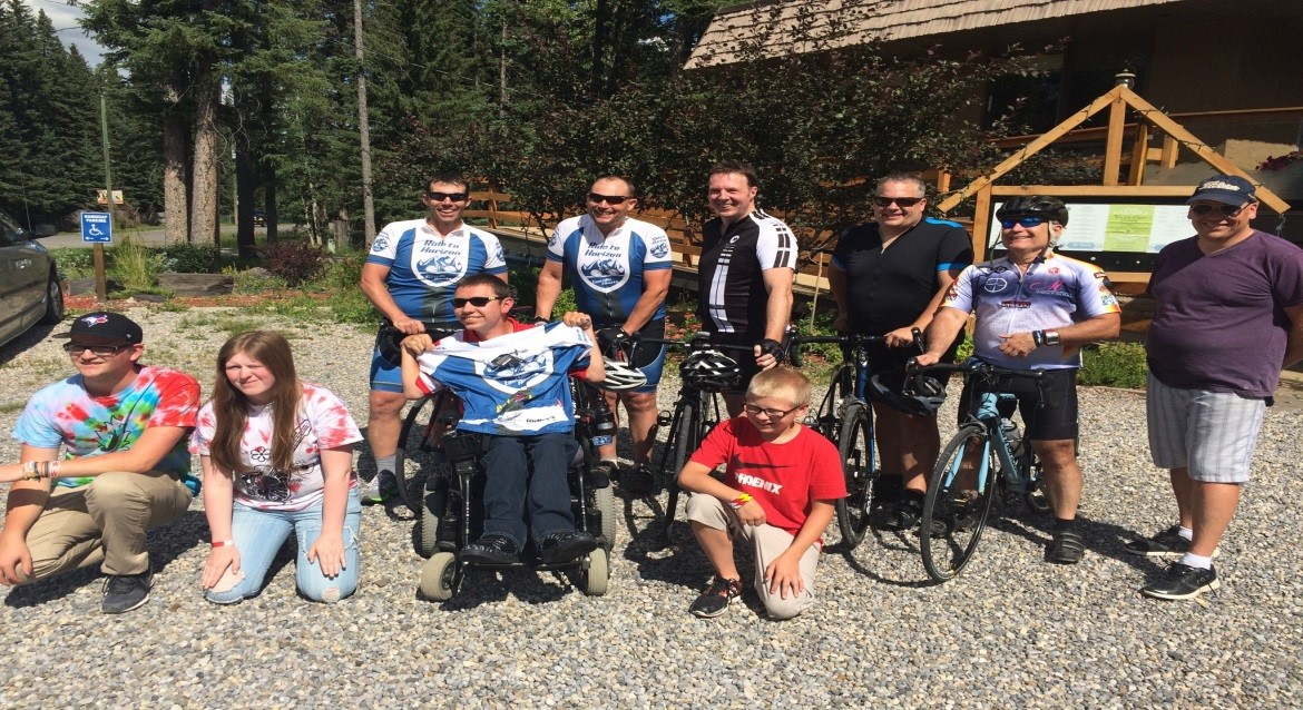 MP Barlow with Ride to Horizon participants and campers at Easter Seals Camp Horizon