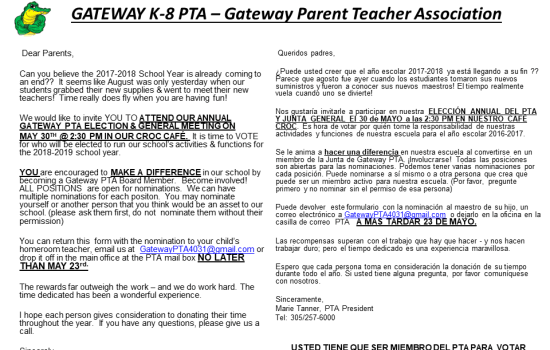 PTA NOMINATION POSITIONS – 2018-2019