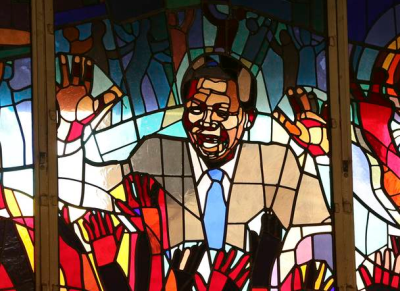 A mural of former South African president Nelson Mandela is seen at Regina Mundi church in Soweto.