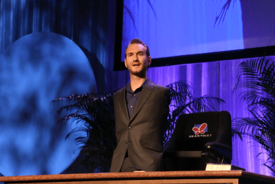 Inspirational speaker Nick Vujicic, who was born without arms or legs, speaks at the National Religious Broadcasters convention on Tuesday, March 5, 2013, in Nashville, Tenn.
