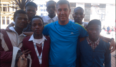 Brendon Slabbert with some young people who had just attended a careers expo.