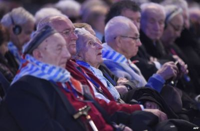 Survivors at the commemoration at Auschwitz -- they are unlikely to gather at one place again in such numbers. (PHOTO: BBC).