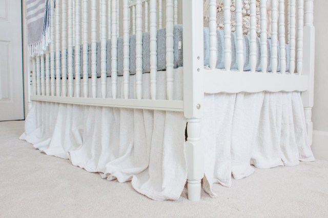 DIY No Sew Drop Cloth Crib Skirt Tutorial! Easy DIY crib skirt, No Sew Crib Skirt, Drop Cloth Bed Skirt, Neutral Nursery, Farmhouse Nursery