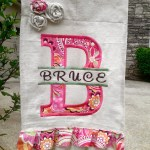 Split Letter Applique Ruffled Edge Garden Flag