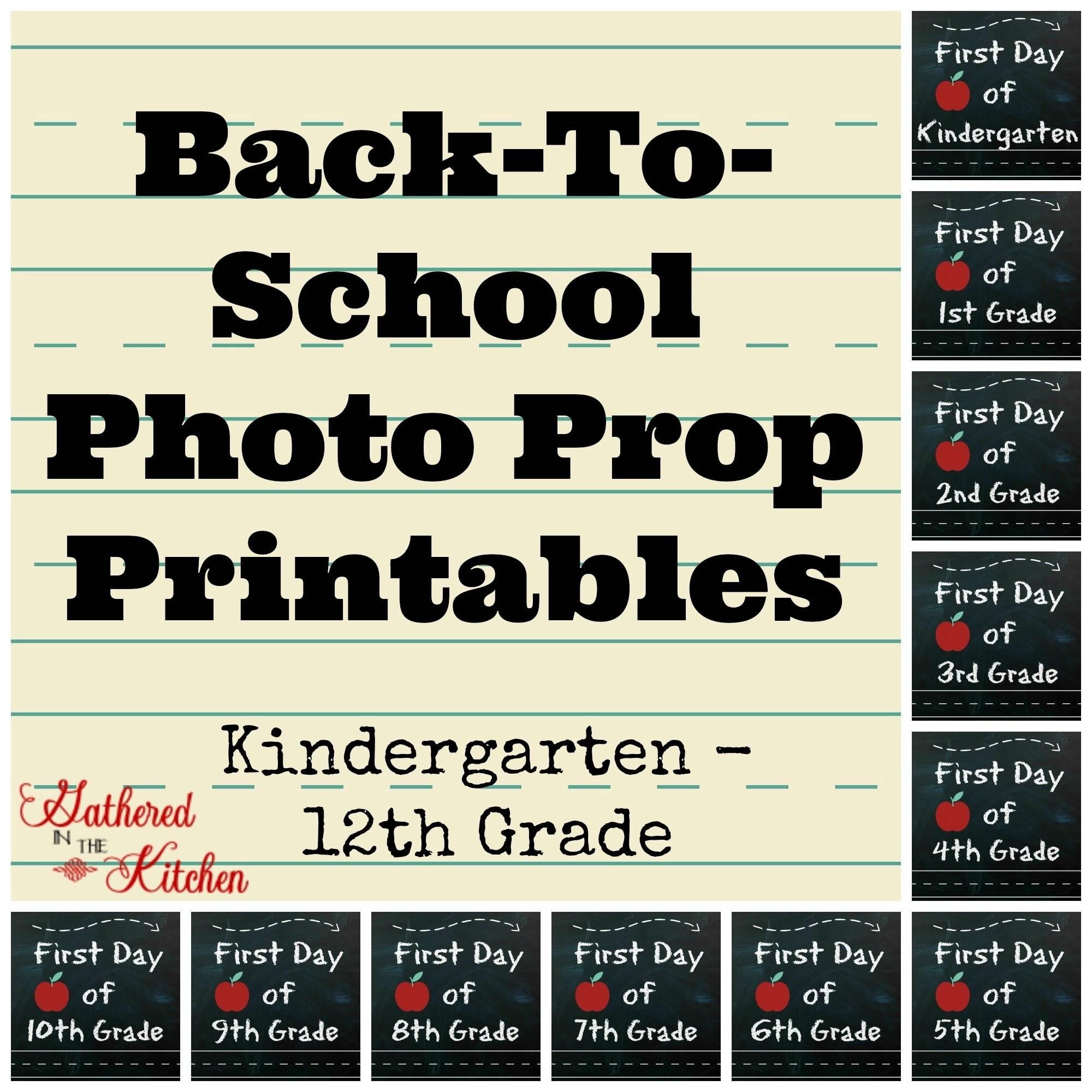 Back To School Printable Chalkboard Photo Prop Sign
