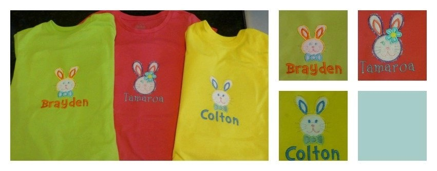 DIY monogrammed Easter Bunny Shirts for kids