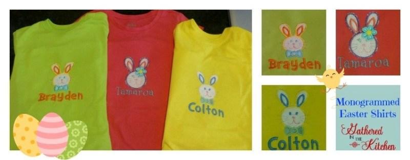 DIY monogrammed Easter shirts