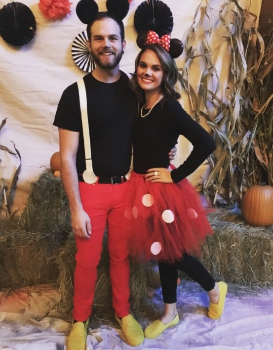 Couples Halloween Costumes Mickey Mouse u0026 Minnie Mouse  sc 1 st  Gathered In The Kitchen & 20 Best DIY Couples Halloween Costumes That Can Be Worn in Front of ...