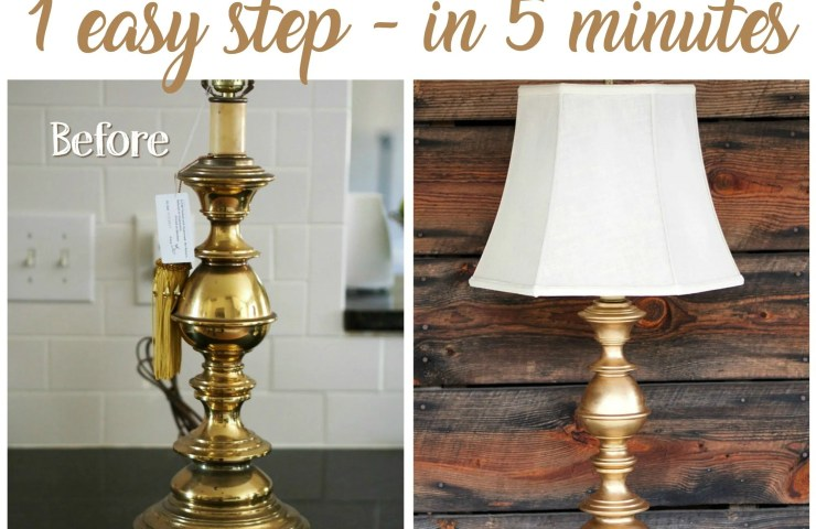DIY Rubbed Gold Thrift Store Lamp Makeover Rub 'n Buff Tutorial