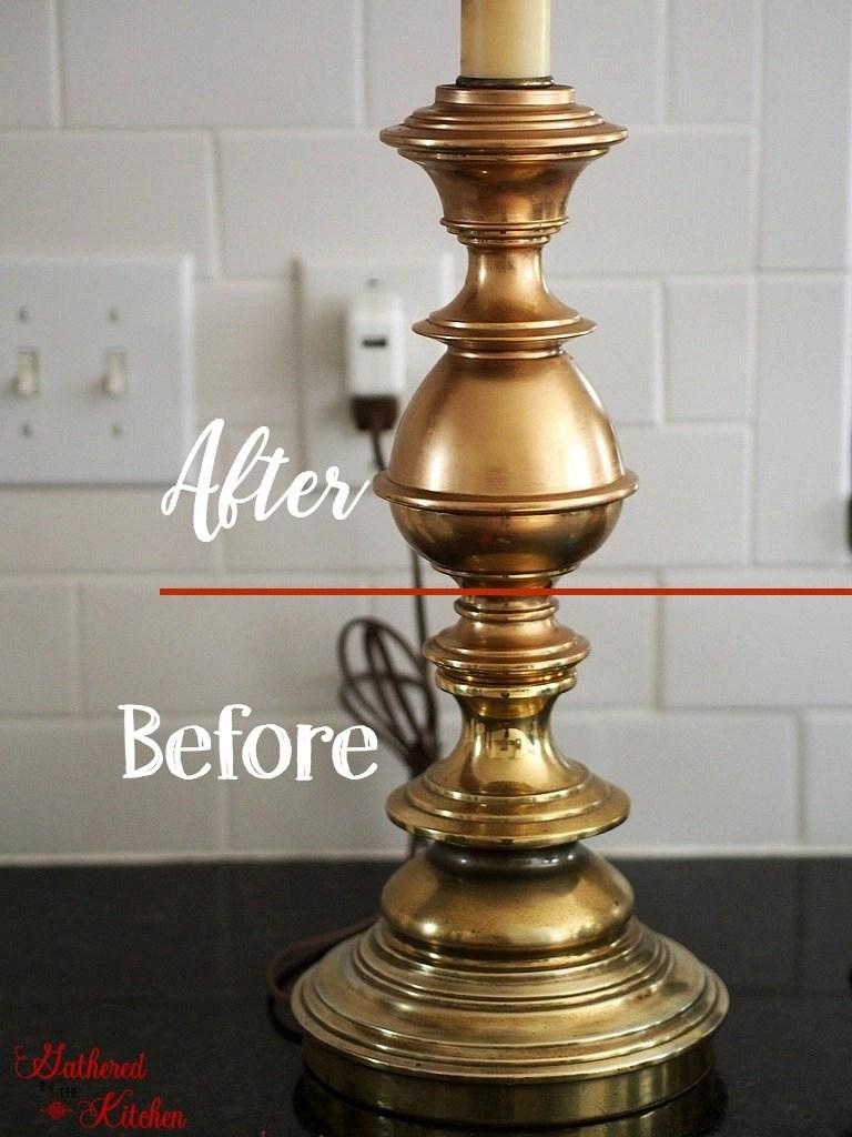 DIY Gold Rubbed Thrift Store Farmhouse Lamp Makeover Rub 'n Buff Tutorial