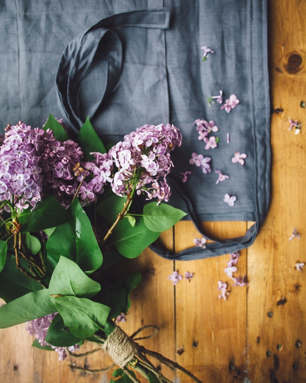 Linen Apron with lilacs