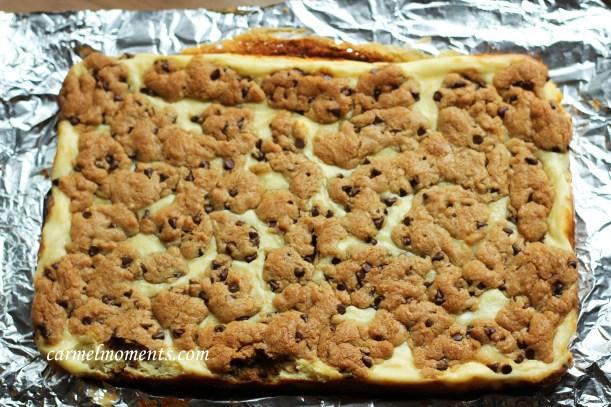 Chocolate chip cheese bars gatherforbread.com