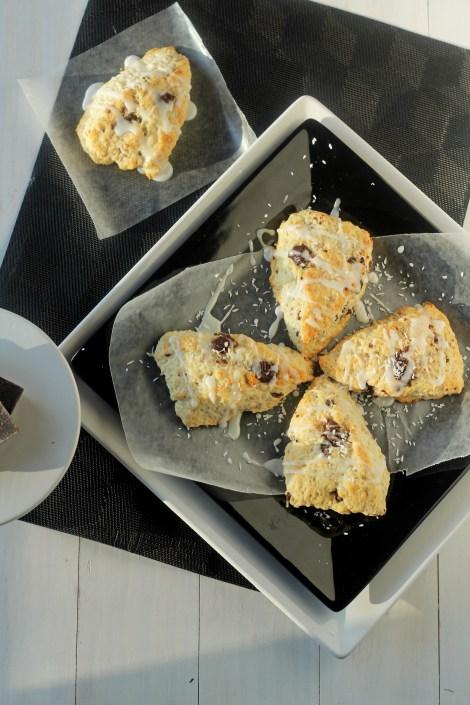 Coconut Chocolate Chunk Scones | Carmel Moments