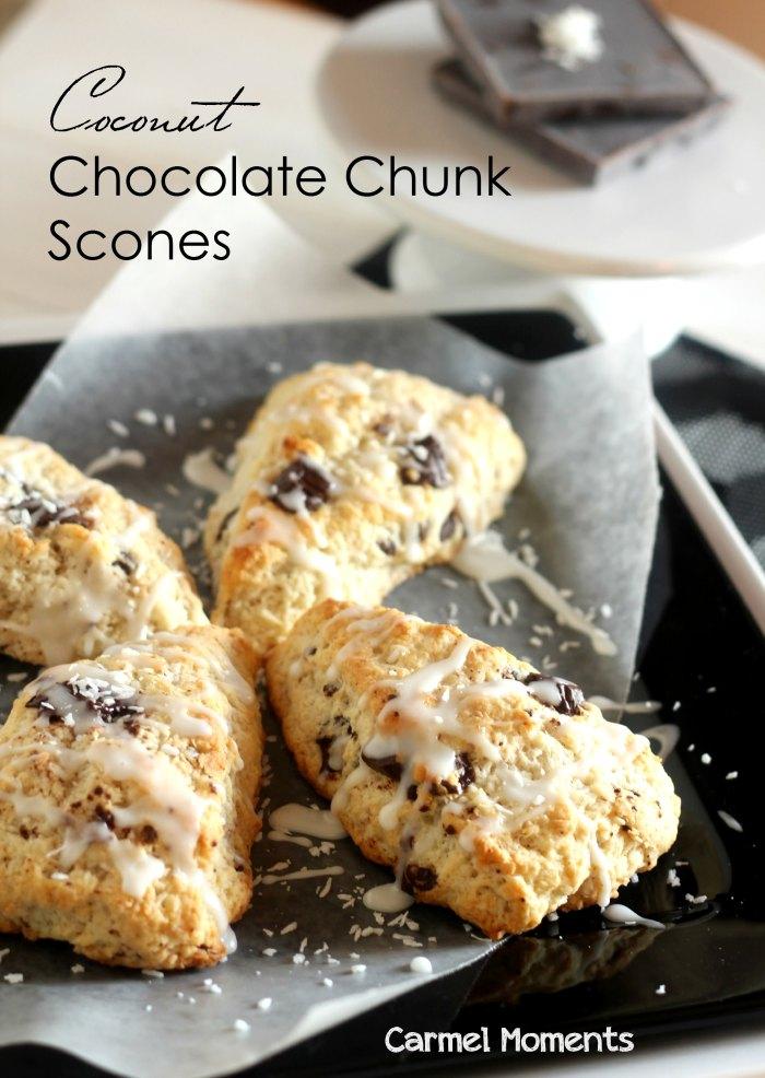 Coconut Chocolate Chunk Scones // gatherforbread.com