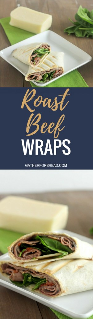 Roast Beef Wraps - Simple beef wraps made with roast beef, cheese, spinach, tomatoes and a dijon mustard Easy to serve to last minute guests or quick pick-me-up lunch.