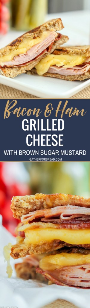 Bacon Ham Grilled Cheese Brown Sugar Mustard Sauce - Delicious gooey grilled cheese sandwiches stuffed with bacon, ham and cheese. Grilled with a warm brown sugar mustard sauce. #sandwiches #bacon #dinner #lunch #grilledcheese