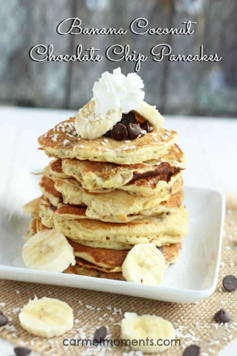 Banana Coconut Chocolate Chip Pancakes -- light and fluffy banana pancakes bursting with bites of coconut and chocolate. | gatherforbread.com