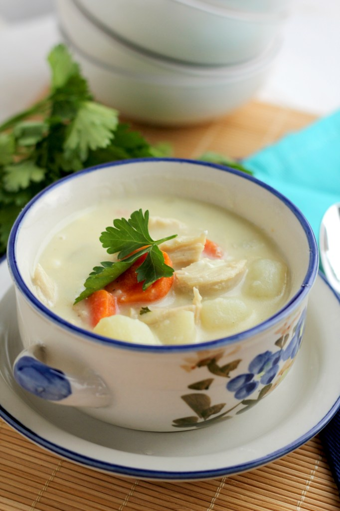Cream Cheese Chicken Soup A thick creamy chowder with a delicious filling of carrots, potatoes and chicken   gatherforbread.com