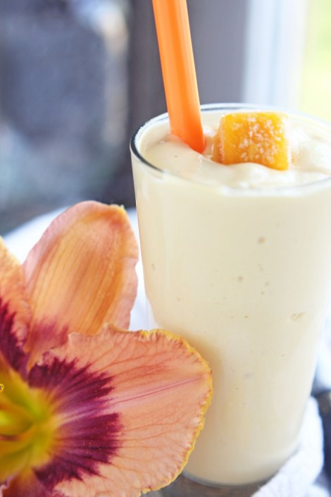 Mango Vanilla Smoothie -- ONLY 4 ingredients for this healthy drink   gatherforbread.com