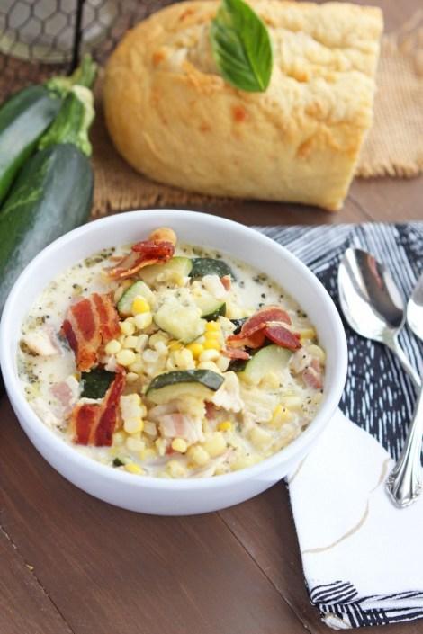 Creamy Zucchini Bacon Corn Soup
