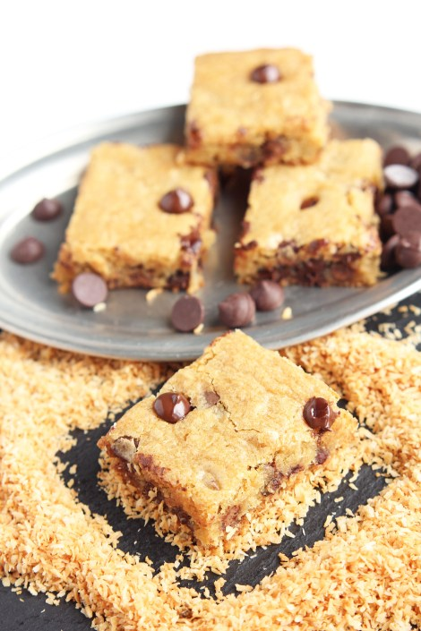 Congo Bars - Delicious chewy chocolate chip bars made sweet with toasted coconut. | gatherforbread.com