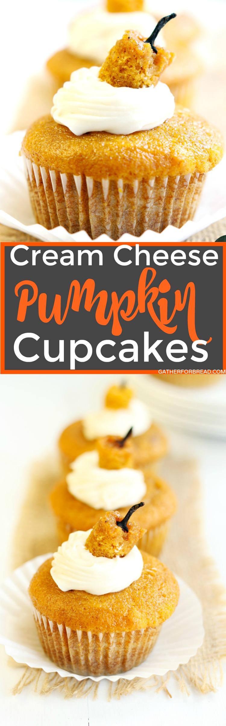 Cream Cheese Pumpkin Cupcakes - Moist homemade pumpkin cupcakes filled with an easy cream cheese frosting. These amazing pumpkin cupcakes are a perfect fall treat!