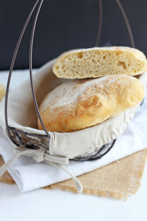 Fresh baked rustic loaf that's airy and delicious. Italian ciabatta is perfect for sandwiches or in the bread basket at dinner. This easy recipe bakes up beautiful Artisan style bread.