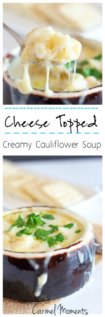 Cheese Topped Creamy Cauliflower Soup --Easy to follow creamy cauliflower soup topped with delicious Swiss | gatherforbread.com