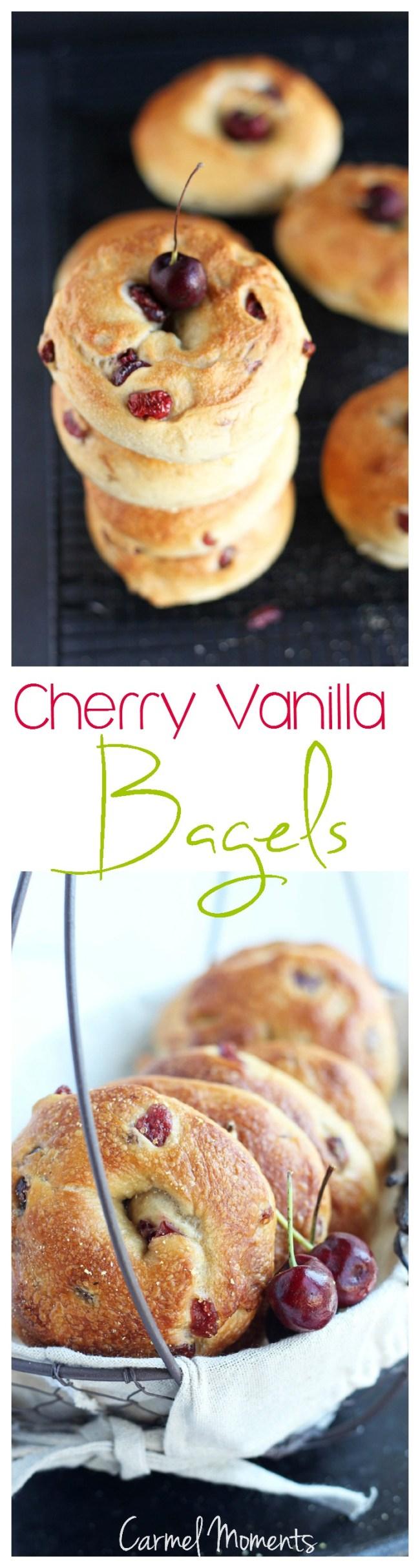 Cherry Vanilla Bagels {Panera Copycat Recipe} // @gatherforbread