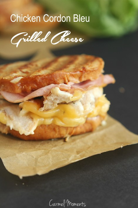 Chicken Cordon Bleu Grilled Cheese -- Simple and delicious grilled cheese for meat and cheese lovers | gatherforbread.com
