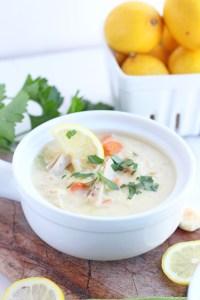 Creamy Turkey Lemon Rice Soup