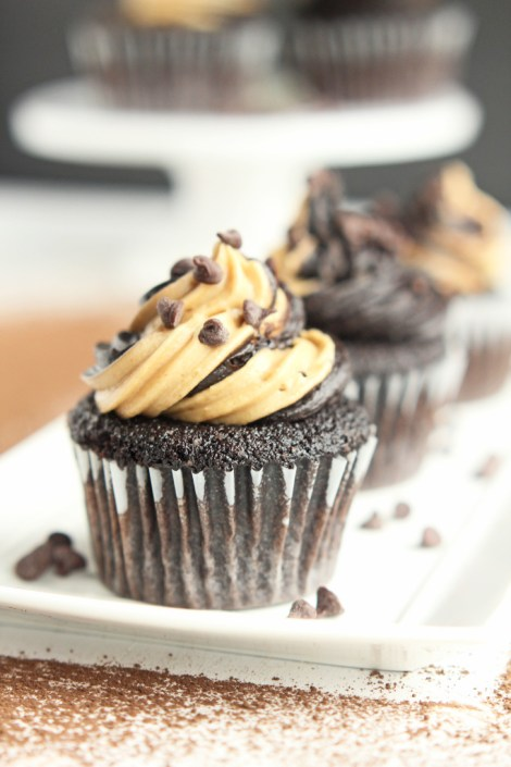 Dark Chocolate Cupcakes with Peanut Butter Swirled Frosting