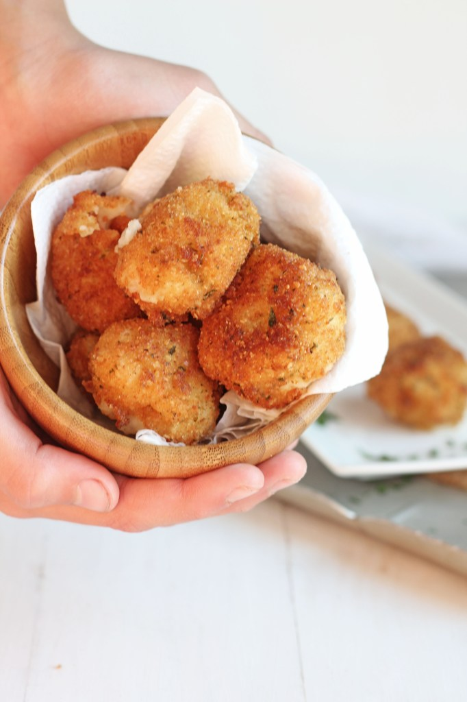 Fried Mashed Potato Balls -- Perfect use for leftover mashed potatoes. Crunchy outside, creamy inside | gatherforbread.com