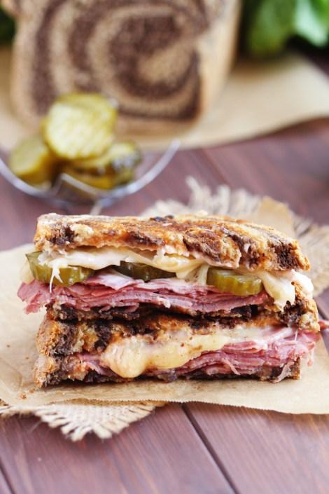 Best Reuben Sandwich without Sauerkraut - My classic version with a twist. Replacing sauerkraut with delicious crisp pickles makes the perfect Reuben.