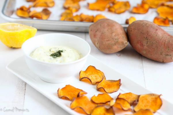 Crisp, delicious, salty baked sweet potato chips make the perfect healthy snack. Just 4 simple ingredients. Combine with this fresh dip. Paleo, Whole 30 approved.