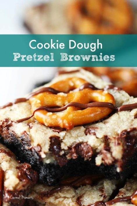 Cookie Dough Pretzel Brownies - Delicious layers of brownie and cookie dough topped with crunchy pretzels and chocolate drizzle.