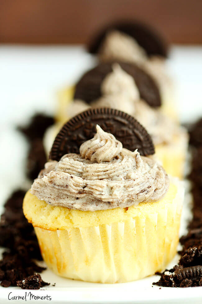 Oreo cupcakes, from scratch vanilla cupcakes, topped with oreo buttercream. Perfect blend of cookies and cream. Homemade and fabulous, everyone will want more.