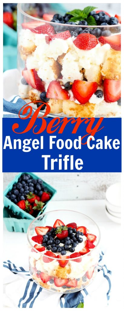 Berry Angel Food Cake Trifle - Angel food cake with fresh strawberries, blueberries and whipped cream makes a beautiful summer dessert with only 5 ingredients. Low sugar, whole real ingredients.