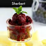 Delicious creamy sherbert made with fresh blueberries, buttermilk a hint of vanilla and topped with fresh mint for garnish. Perfect summer dessert to cool down.