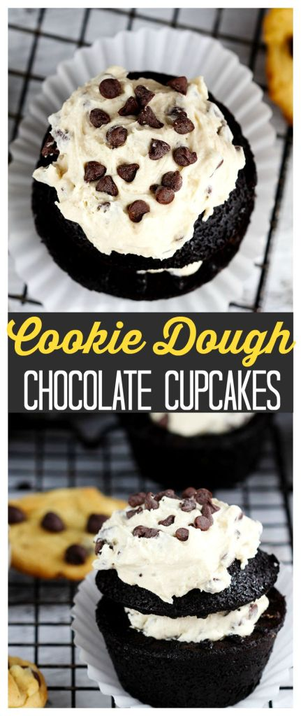 Cookie Dough Chocolate Cupcakes - Delicious moist chocolate cupcakes made with chopped chocolate; stuffed, and topped with chocolate chip cookie dough frosting.