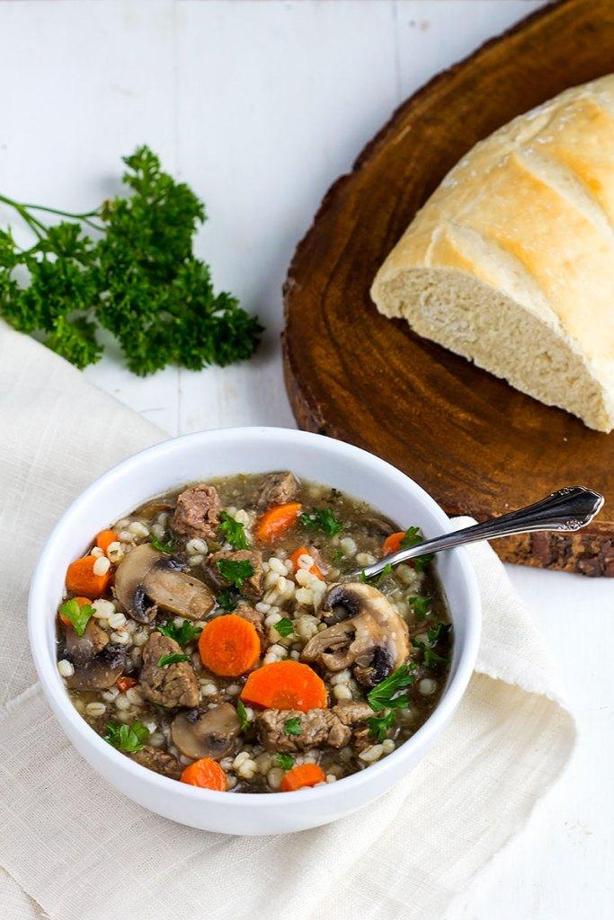 Beef Barley Mushroom Soup // Gather for Bread