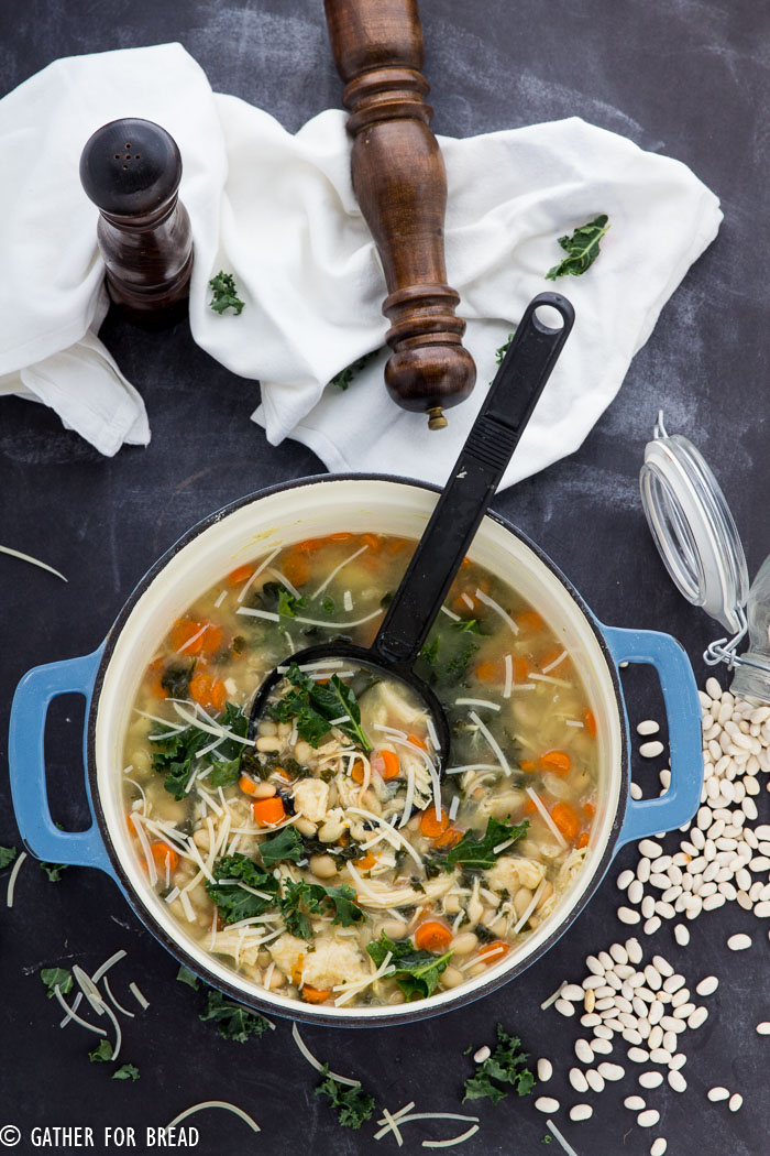 Chicken Kale and Bean Soup| Easy, healthy soup. That's perfect for lunch or dinner. Leftovers welcome! | gatherforbread.com