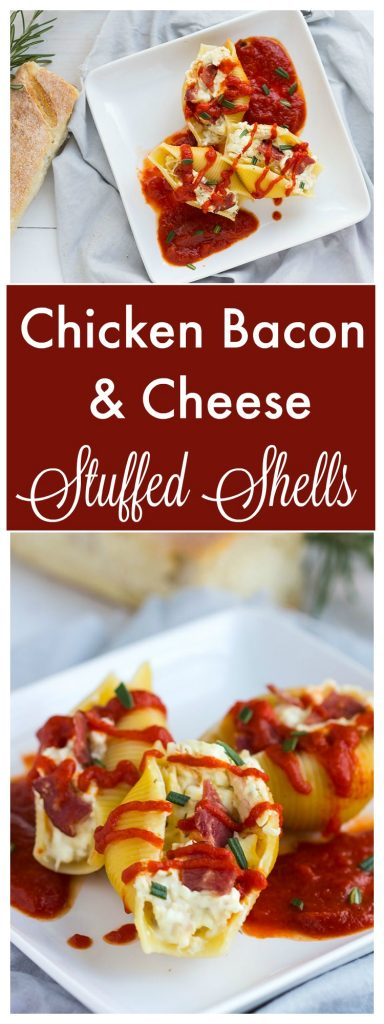 Cheesy Jumbo Pasta Shells stuffed with goat and feta cheeses, shredded chicken and bacon. - Delicious twist on an original classic pasta dish. // gatherforbread.com
