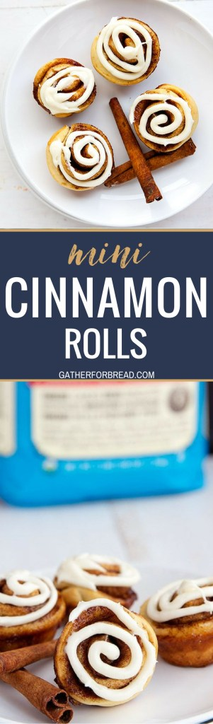 Mini Cinnamon Rolls - Mini bite sized cinnamon rolls made with an easy from scratch dough. These are sweet and perfect for brunch, the holidays or to give as gifts.. Homemade and topped with an AMAZING cream cheese glaze.