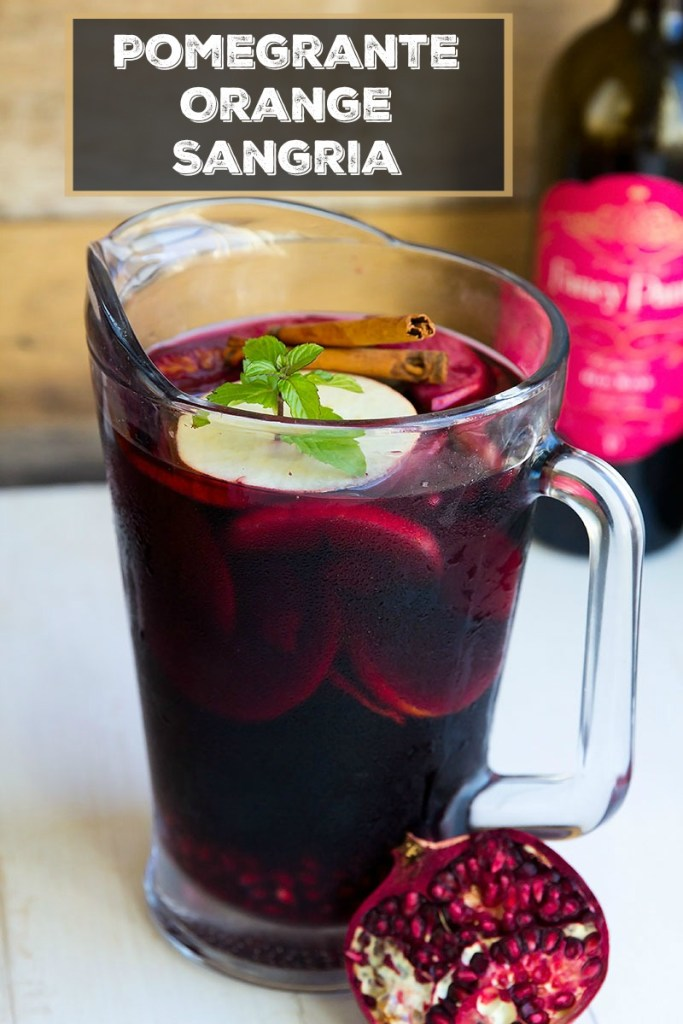 Pomegranate Orange Sangria - Wonderful blend of red wine pomegranate, orange and apple for a festive cocktail. Delish!