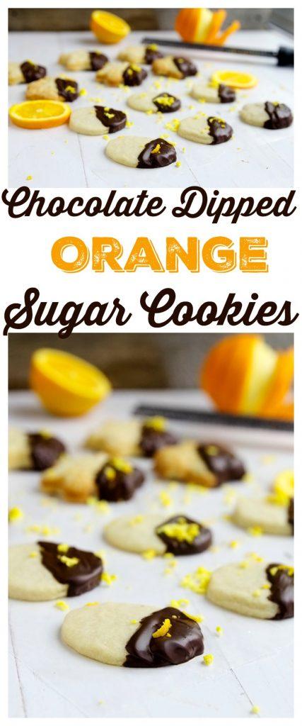 Chocolate Dipped Orange Sugar Cookies | gatherforbread.com