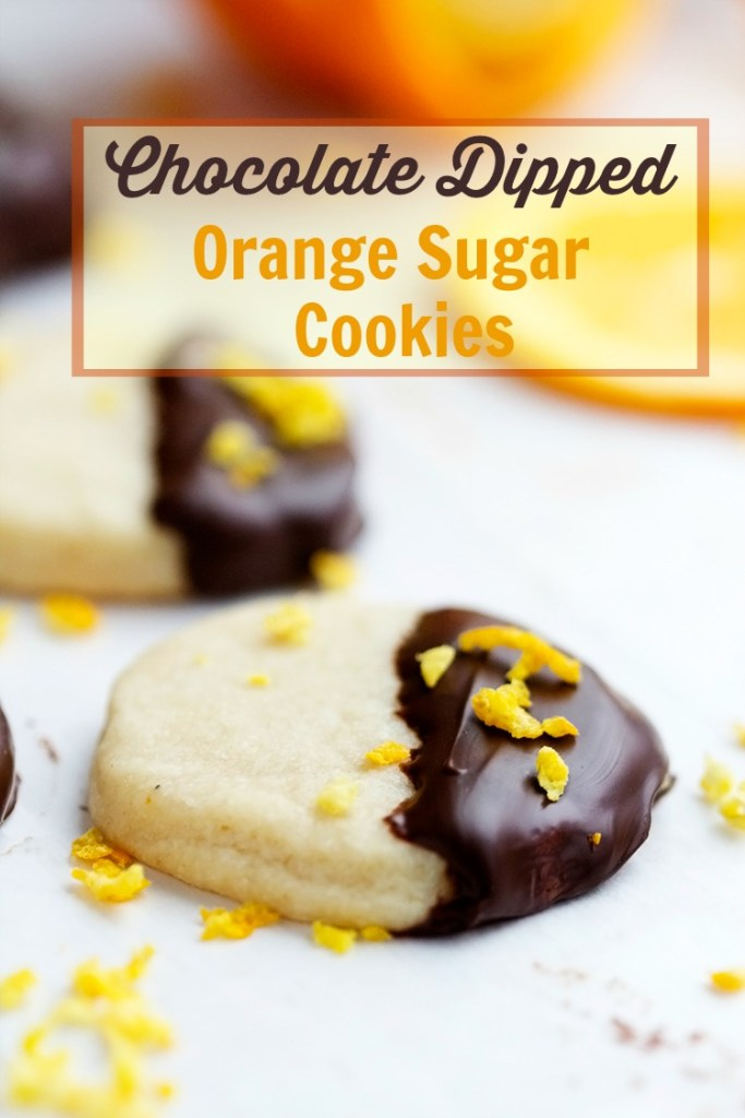 Chocolate Dipped Orange Sugar Cookies | gatherforbread.com