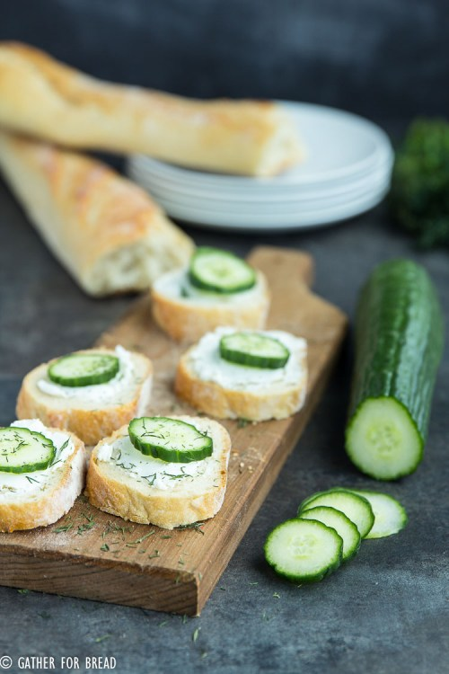 Cucumber Goat Cheese Sandwich Bites